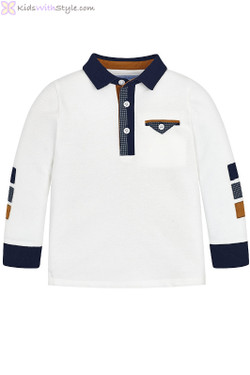 Young Boys Long Sleeve Polo Shirt in White