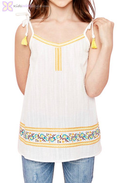 Ivory Embroidered Top with Tie Straps
