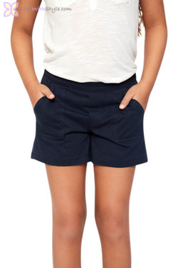 Navy Cotton Nautical Shorts