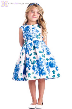 Blue Floral Rose Dress