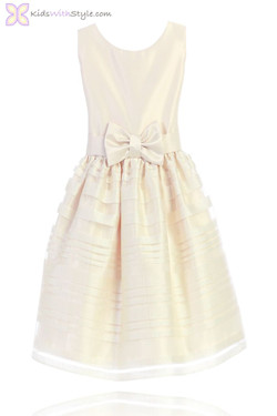 Ivory Satin Organza Dress