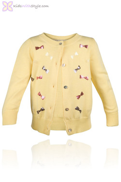 Embroidered Yellow Bow Cardigan