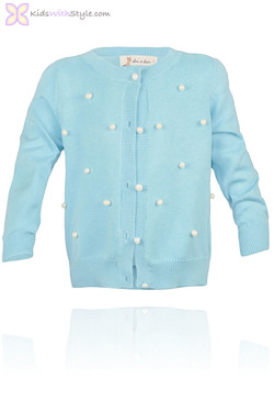 Aqua Blue Cardigan with Pearl Buttons