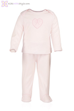 Pink Striped Heart Infant Set
