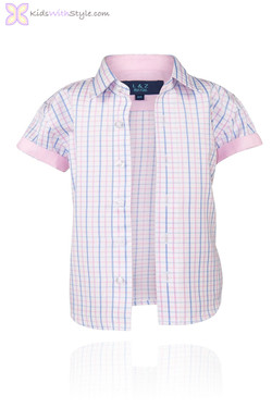 Boys Blue & Pink Short Sleeve Shirt