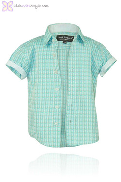 Teal Striped Short Sleeve Shirt