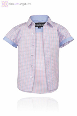 Boys Blue and Pink Short Sleeve Shirt