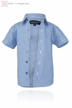 Boys Blue Dot Short Sleeve Shirt
