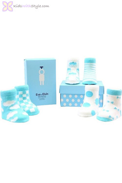 Fluffy Clouds Set of 6 Baby Socks