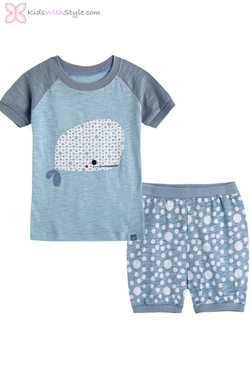 Blue White Short Sleeve Pajama Set