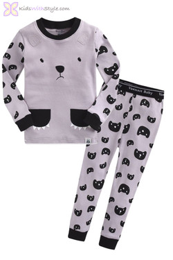 Grey Bear Pajama Set