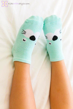 Mint Kitty Socks