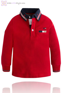 Boys Long Sleeve Red Polo Shirt