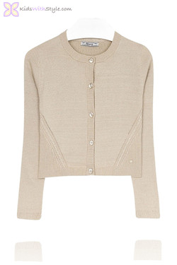 Girls Metallic Gold Cardigan
