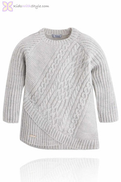 Girls Grey Cable Knit Sweater
