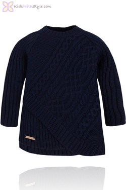 Girls Navy Cable Knit Sweater with Asymmetrical Hem