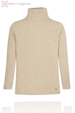 Girls Beige Turtleneck Sweater