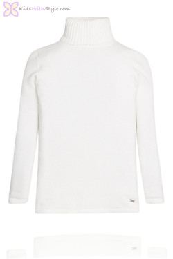 Girls White Turtleneck Sweater