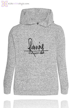 Girls Embroidered Grey Hooded Sweater