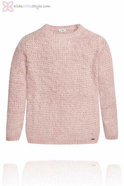 Girls Rose Knitted Fur Sweater