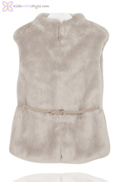 Girls Beige Fur Vest with Belt