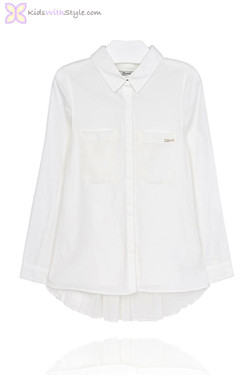 Girls Ivory Pleated Blouse