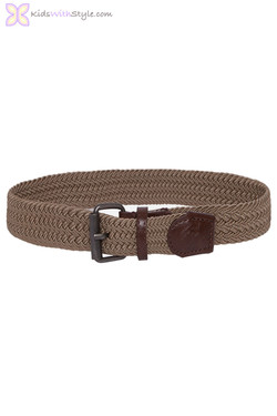 Brown Braided Elastic Belt