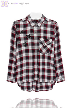 Girls Checkered Blouse with Embroidered Stars