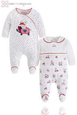 Baby Girl's Red Onesie 2 Piece Sleepset