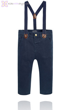 Boy's Navy Chino Pants With Suspenders