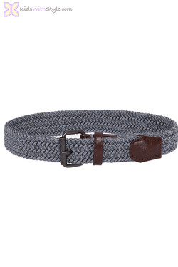 Boys Grey Braided Elastic Belt