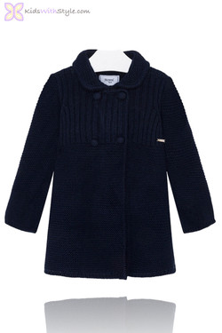 Girls Chic Navy Knitted Peacoat