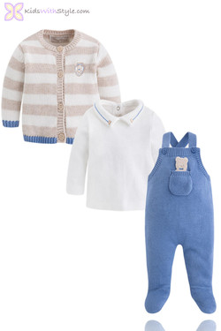 Baby Boy 3 Piece Luxury Knitted Overall Set