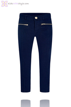 Girls Navy Jeggings with Zip Pockets