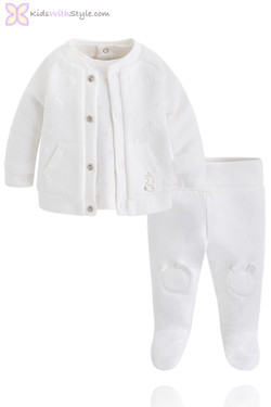 Baby's White 3 Piece Tracksuit Set with Jacket
