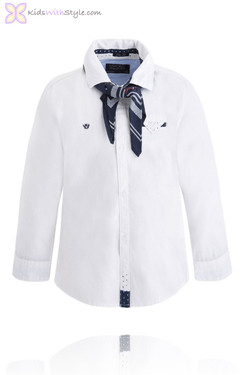 Boy's Long Sleeve Shirt with Handkerchief Tie