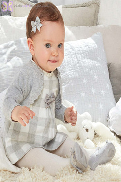 Baby Girl Grey and White Gingham Dress