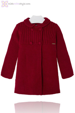 Girls Maroon Knitted Peacoat