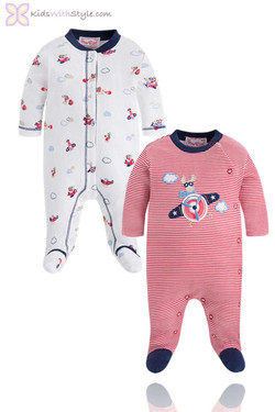 Baby's Red Airplane 2 Piece Onsie Sets