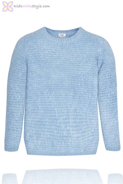 Girl's Sky Blue Knit Pullover Sweater
