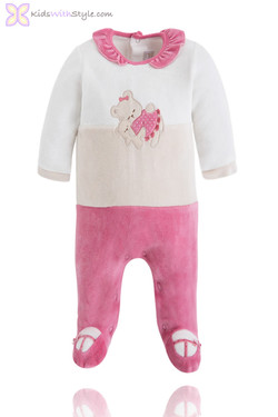 Baby Girl Rose Velour Onesie