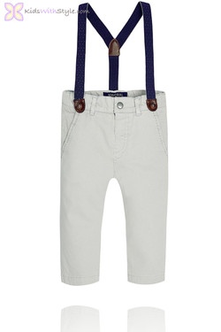 Baby Boy Grey Chinos with Suspenders