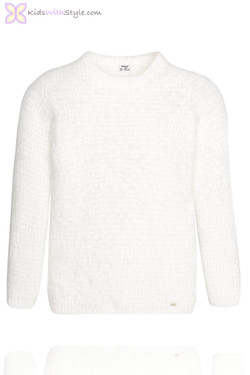 Girls Soft Ivory Knit Sweater