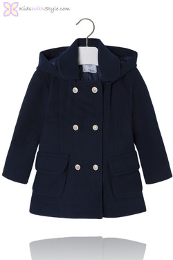 Girls Navy Chic Double Button Peacoat