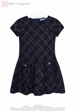 Girl's Navy Tweed Short Sleeve Dress