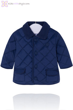 Baby Boy Navy Quilted Coat