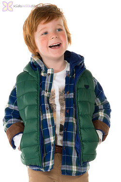 Boys Padded Green Reversible Vest