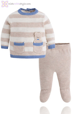 Baby Boy Beige Two Piece Sweater Set