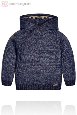 Boys Navy Knit Sweater with Hood