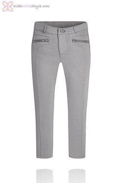 Girl's Grey Jeggings with Zippered Pockets